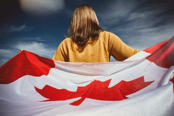 girl with the Canadian flag